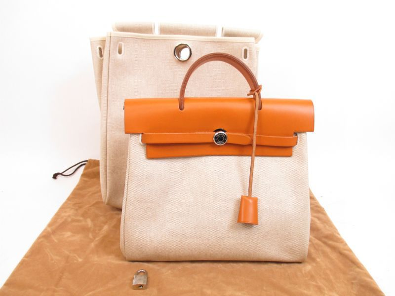 HERMES Herbag PM Brown Toile Canvas Leather 2 in 1 Backpack Purse ...