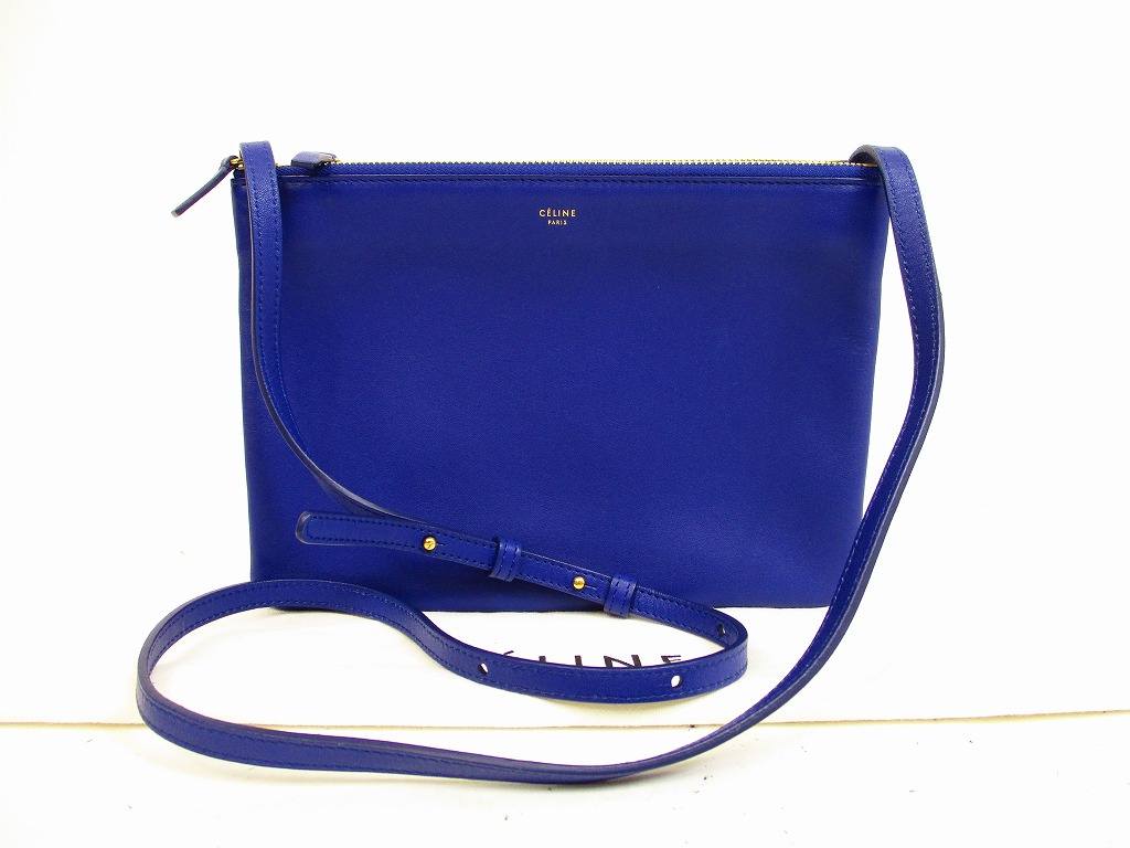 CELINE Lamb Leather Indigo Blue Trio Pouch Cross-body Bag Purse ...
