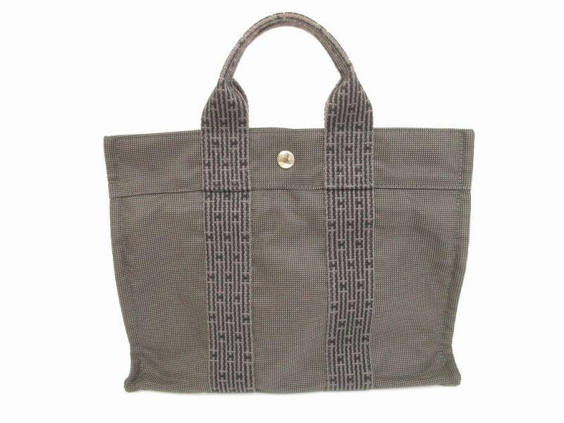 hermes canvas her line grays hand bag tote bag pm 6043 authentic brand shop tokyo 39 s. Black Bedroom Furniture Sets. Home Design Ideas