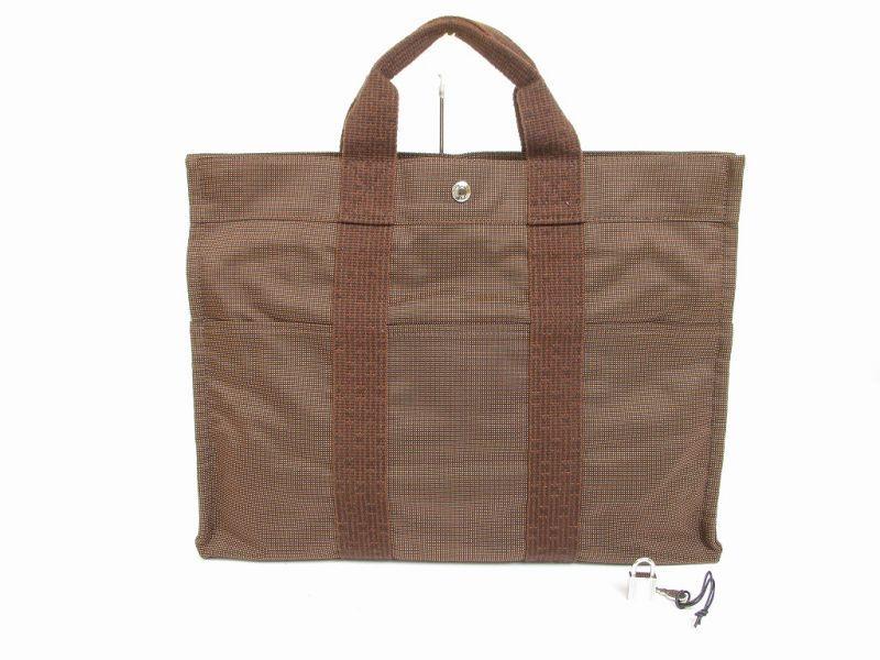 hermes canvas her line brown hand bag tote bag mm purse 6066 authentic brand shop tokyo 39 s. Black Bedroom Furniture Sets. Home Design Ideas