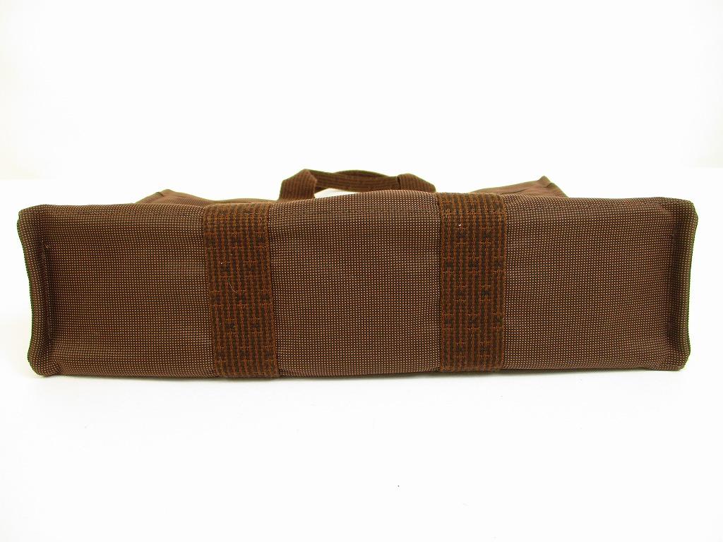 hermes canvas her line brown hand bag tot bag mm purse 6170 authentic brand shop tokyo 39 s. Black Bedroom Furniture Sets. Home Design Ideas