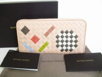 BOTTEGA VENETA Intrecciato Beige Leather Round Zip Wallet Purse #8283
