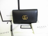 GUCCI GG Marmont Black Leather 6 Pics Key Cases #8288