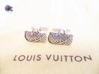 LOUIS VUITTON Sterling Silver 925 Keepall Motif Cufflinks Cuffs #8297