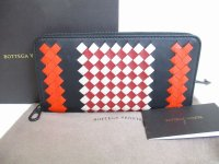 BOTTEGA VENETA Intrecciato Multicolor Leather Round Zip Wallet Purse #8304