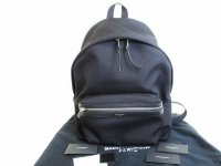 Saint Laurent Paris YSL Sac Hunting Black Canvas Backpack Day pack #8326