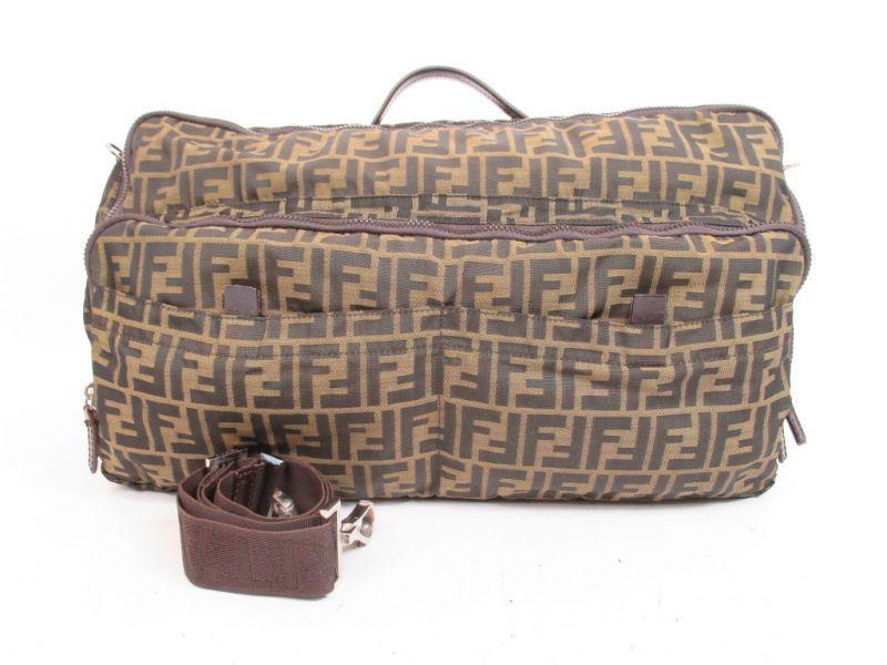 9f02da0a5fa34 FENDI Zucca Pattern Canvas Khaki Duffle Gym Bag Boston Bag  4280   270708-4280