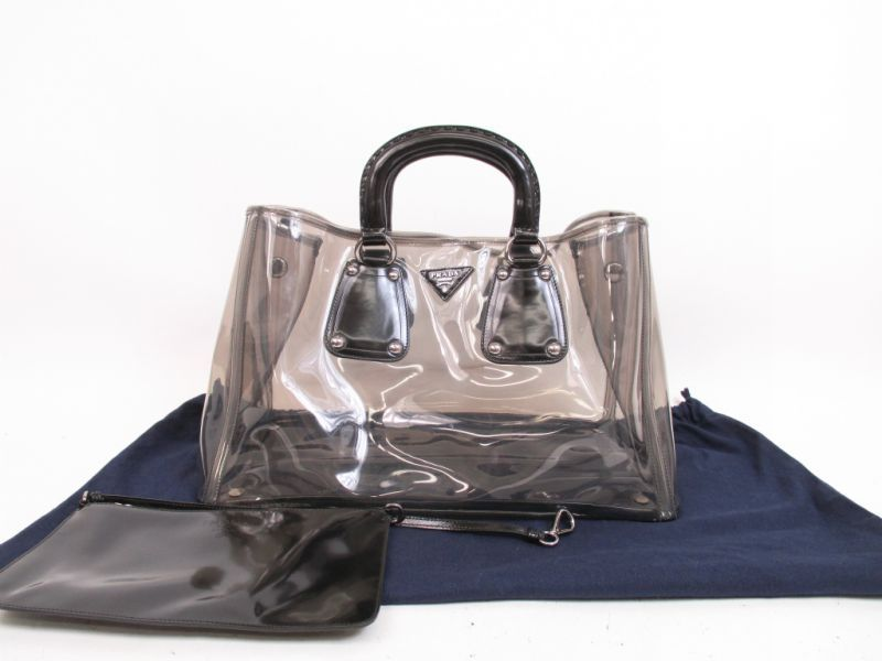 34447fab2e8f ... promo code for prada vinyl clear black hand bag tote bag with pouch  4335 270715 4335 ...
