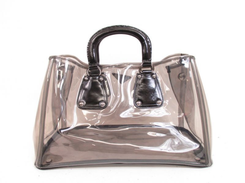 eee7c2a5d806 ... promo code for prada vinyl clear black hand bag tote bag with pouch  4335 270715 4335