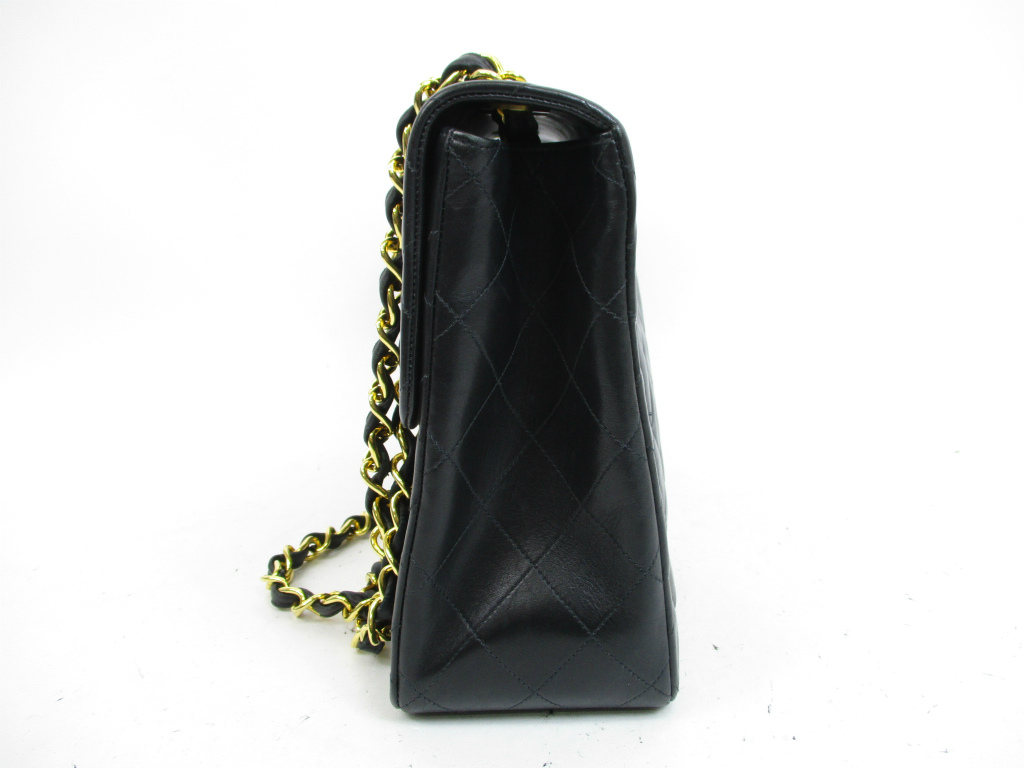 0d4763a997a3 CHANEL Leather Matelasse Blacks Maxi Single Flap Chain Cross-body Bag  Shoulder Bag #4428 [270806-4428]
