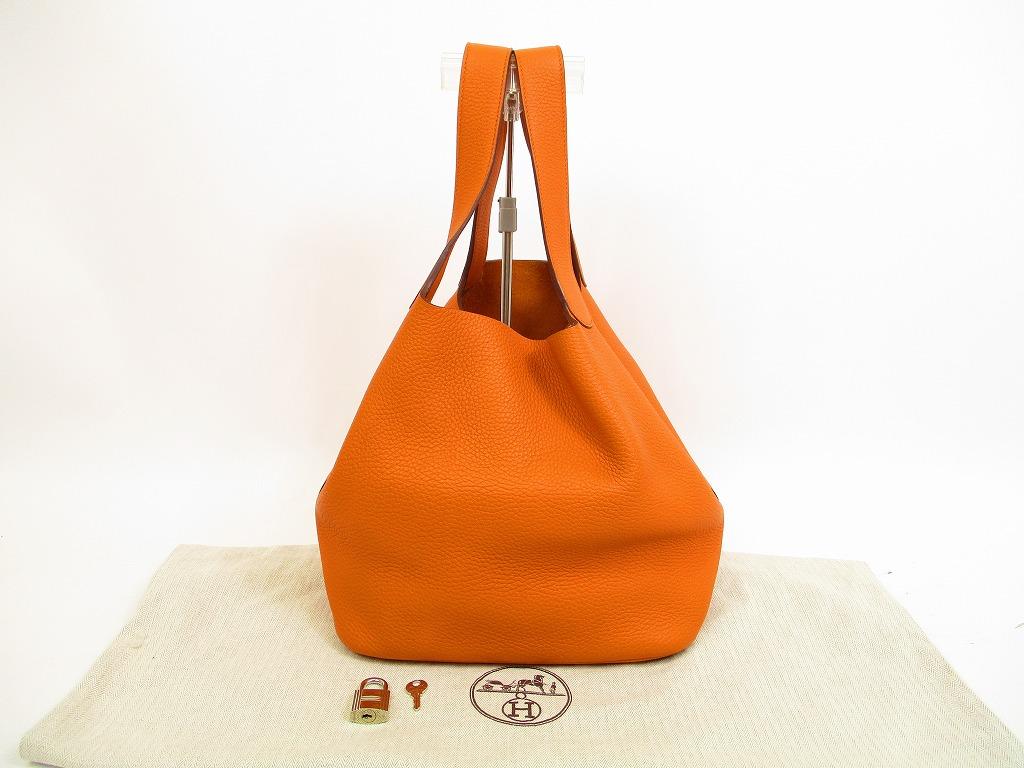 b6a519641ee1 HERMES Taurillon Clemence Leather Orange Hand Bag Picotin Lock GM  4609