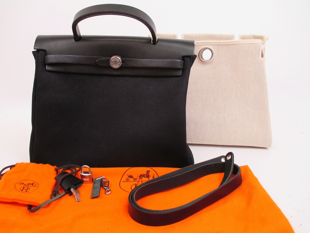 ac93b98e464a HERMES Herbag PM Black Toile Canvas Leather Shoulder Bag Hand bag  4755   271014-4755