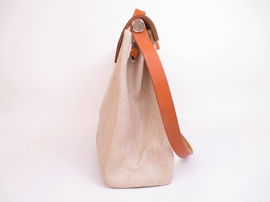 c8733f2f3 HERMES Herbag MM Baige Toile Canvas Leather Shoulder Bag #4807 [271022-4807]