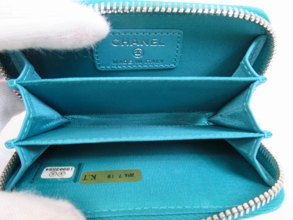 c4fdba2aa172 CHANEL Lamb Leather Blue Zip Around Coin Purse #4960 - Authentic ...