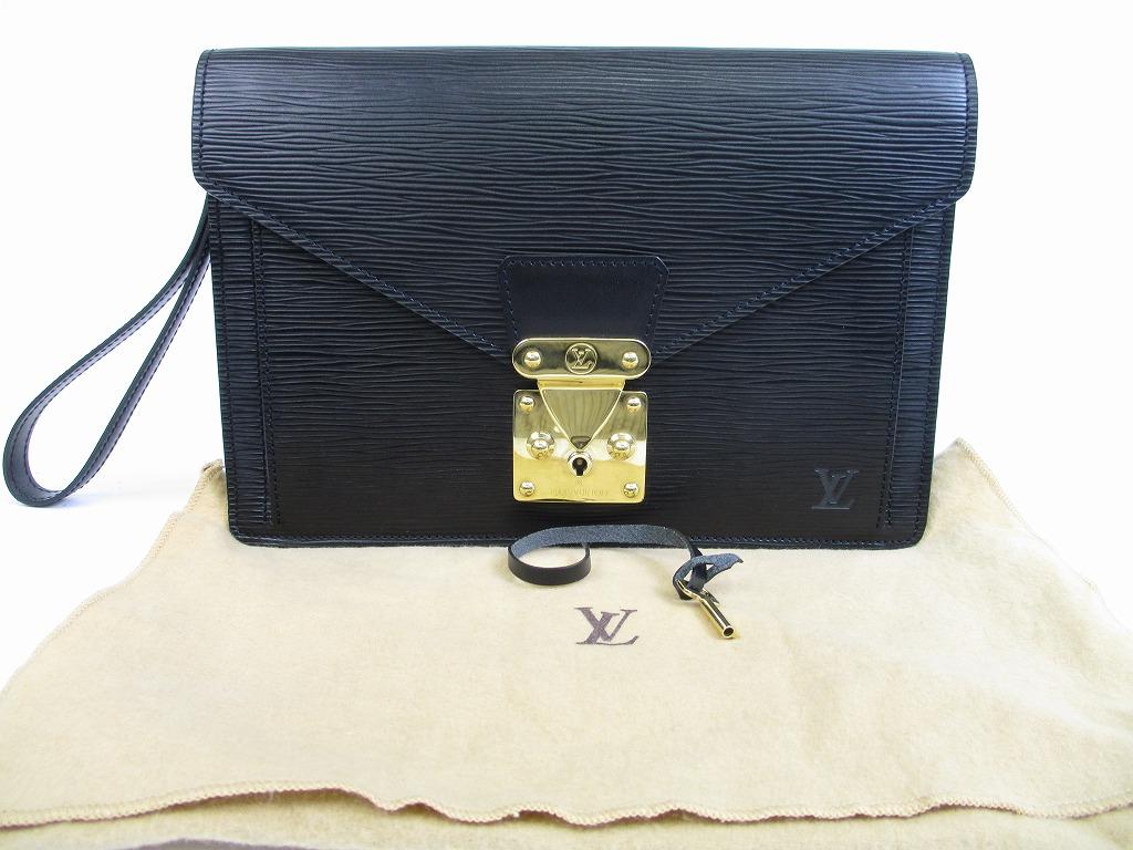 dfc4383153fe LOUIS VUITTON Epi Leather Black Clutch Bag Purse Sellier Dragonne  5301   280308-5301
