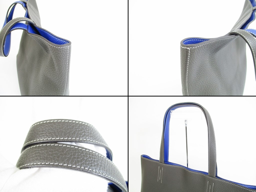 d2df16dc8ae6 HERMES Taurillon Clemence Leather Gray Blue Tote Bag Double Sens 36  5497   280514-5497
