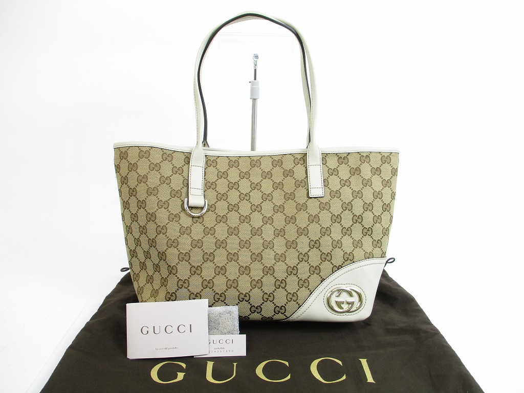 2e223afd186 GUCCI GG Canvas Leather Double G White Tote Shoppers Bag Purse  5516   280517-5516