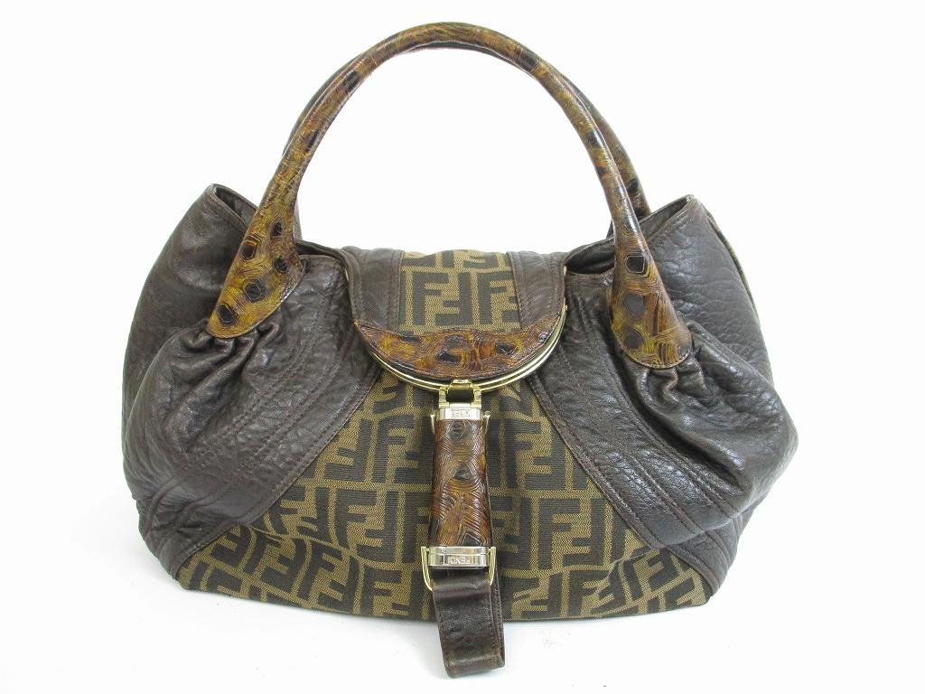 3e61f5713e FENDI Leather Dark Brown Zucca Canvas Khaki Spy Bag Hand Bag #5532