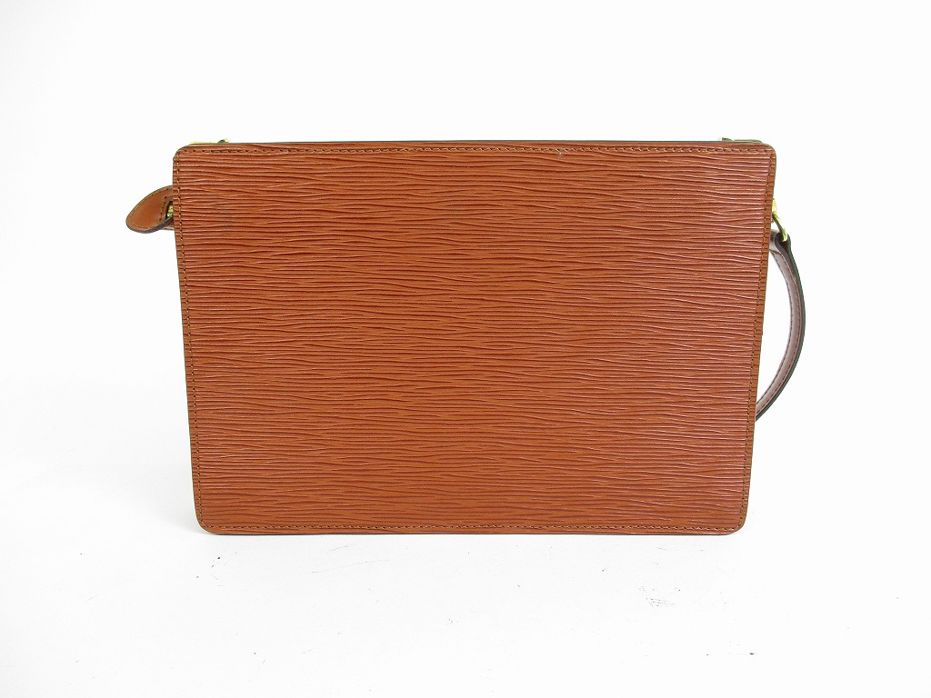 7d5f0c2912 LOUIS VUITTON Epi Leather Brown Clutch Bag Cross-body Bag With Strap ...