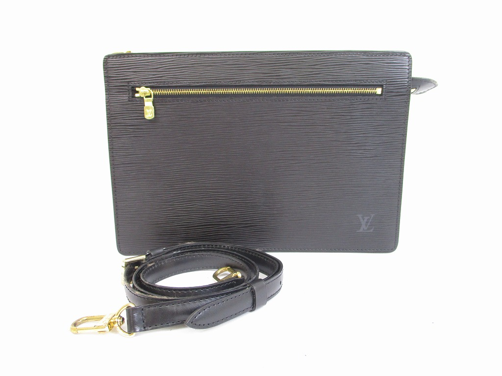 c33143b517 LOUIS VUITTON Epi Leather Blacks Clutch Bag Cross-body Bag With ...