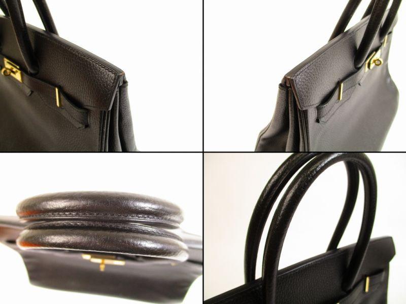 37b6fd931bb9d HERMES Birkin 35 Black Gold Hardware Ardennes Leather Hand Bag A Stamp   5735  280814-5735
