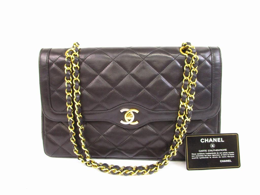9f4990f7a5a8 CHANEL Lamb Leather Matelasse Blacks Double Flap Chain Shoulder Bag #5766  [280901-5766]