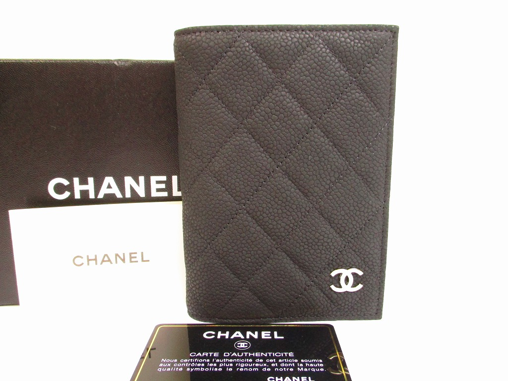 ac72bbc5a12a CHANEL Soft Caviar Skin Black Passport Holders ID Holders #6004