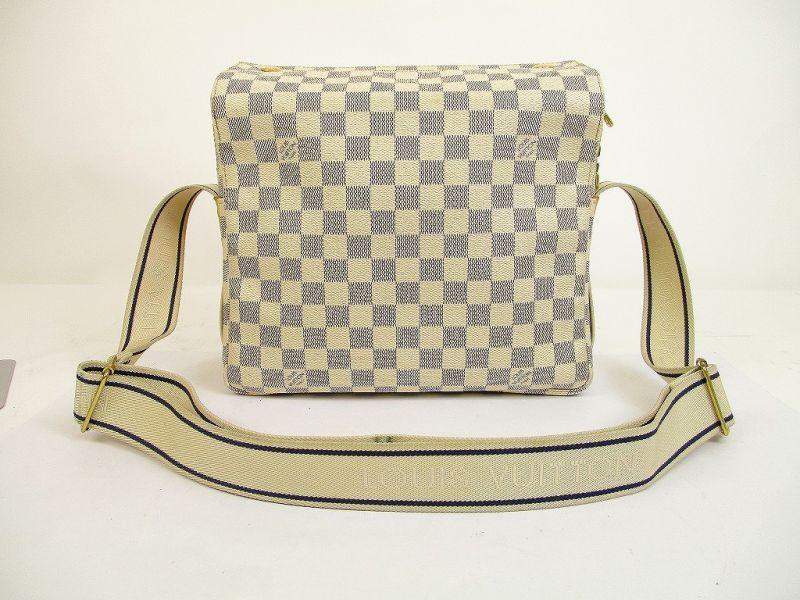 Louis Vuitton Damier Azur Leather White Crossbody Bag Purse Naviglio