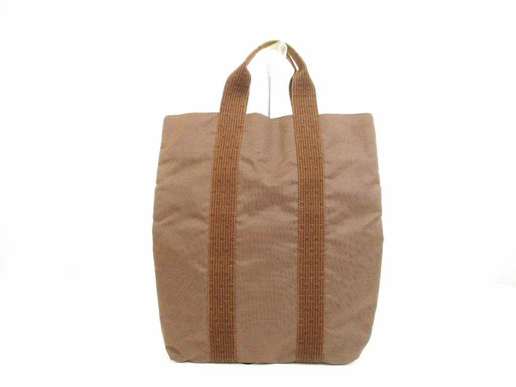 HERMES Canvas Her Line Brown Hand Bag Tote Bag Purse Cabas  6119  6119  5328499d154bd