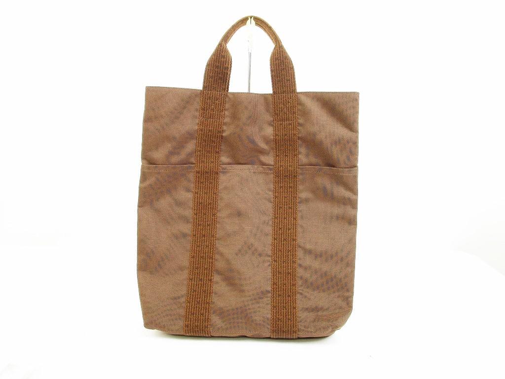 authentic hermes canvas her line brown hand bag tote bag purse cabas 6119 ebay. Black Bedroom Furniture Sets. Home Design Ideas