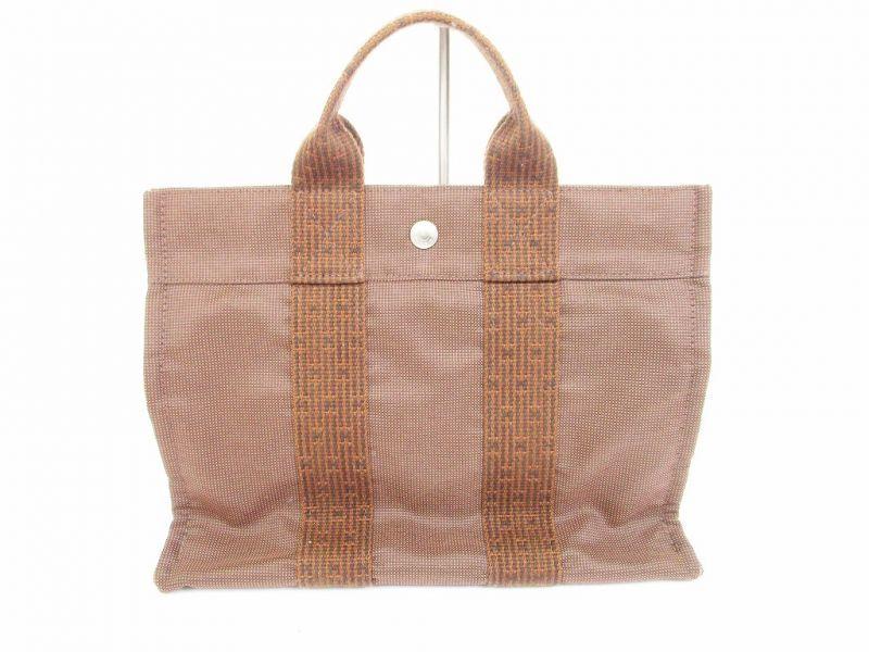 hermes canvas her line brown hand bag tote bag pm 6126 authentic brand shop tokyo 39 s. Black Bedroom Furniture Sets. Home Design Ideas