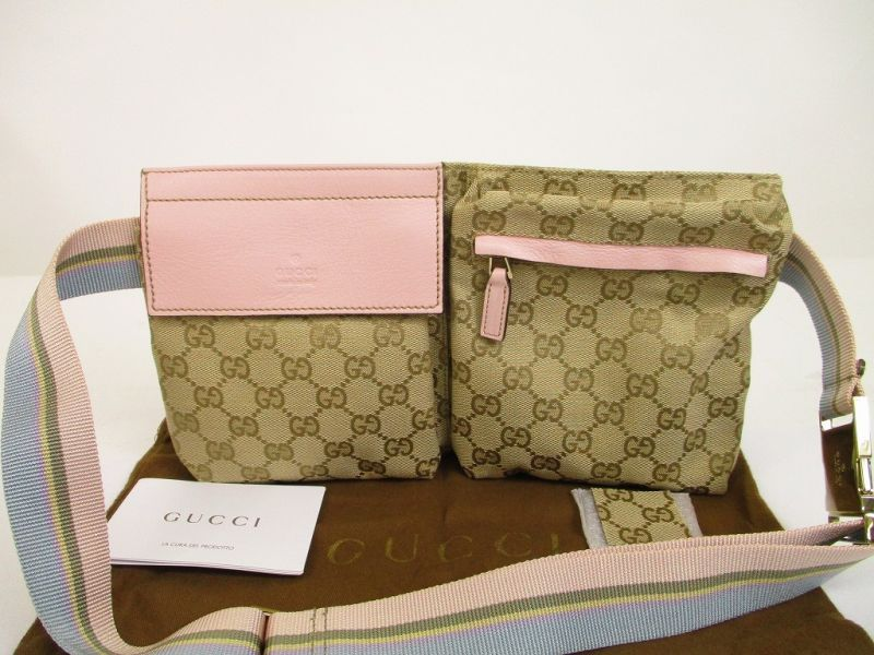 9e125fef385e32 GUCCI GG Canvas Brown and Pink Fanny&Waist Packs Belt Bag Purse #6225 [6225]