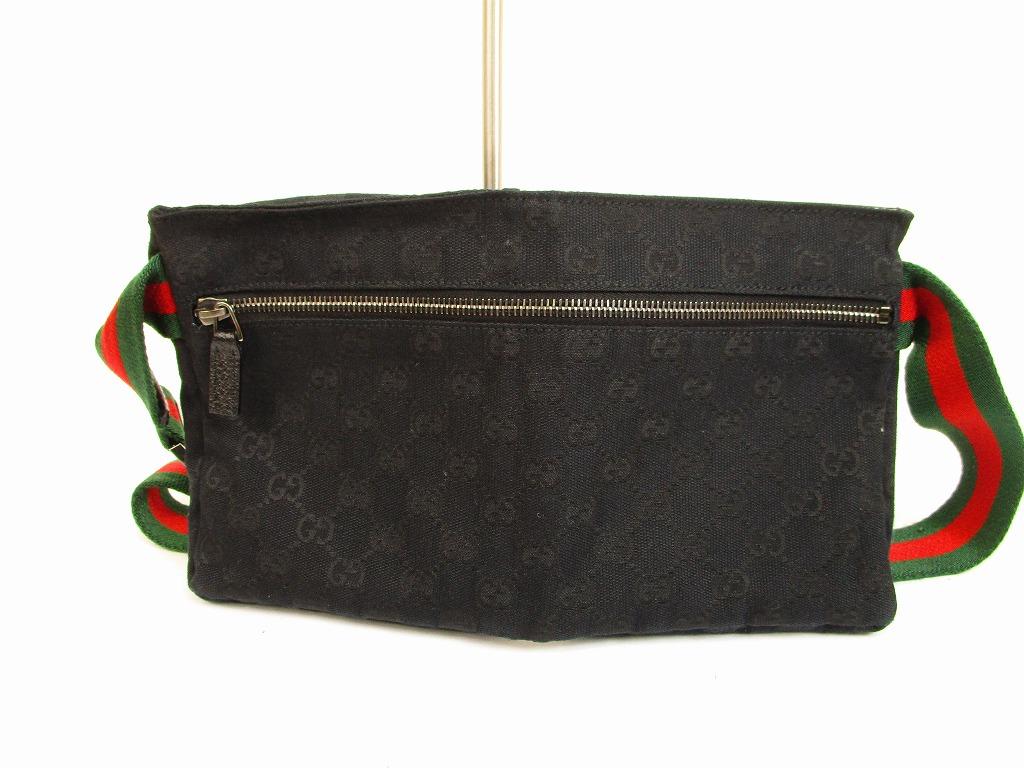 f04b6330024 GUCCI GG Canvas Black Fanny&Waist Packs Belt Bag Purse #6270