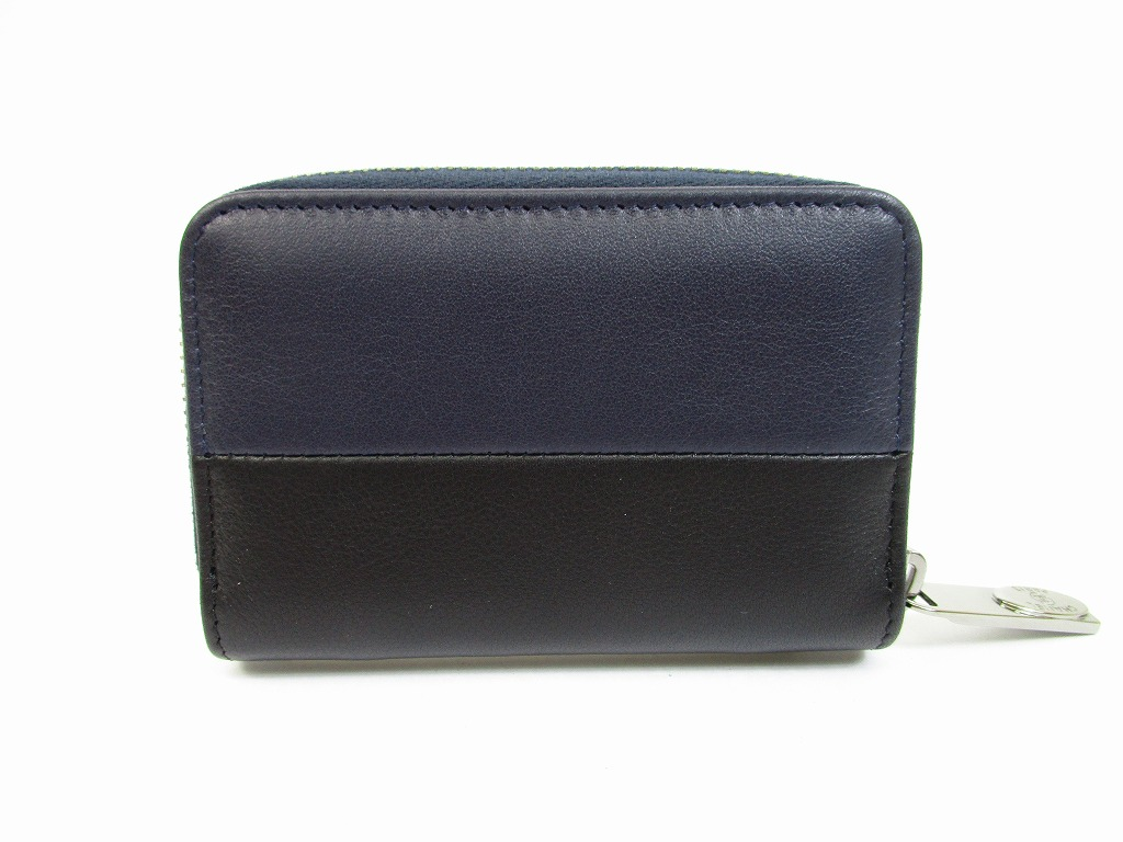 30d6b0d0f676 CHANEL Lamb Leather Black&Navy Blue Zip Around Coin Purse #6318 [6318]