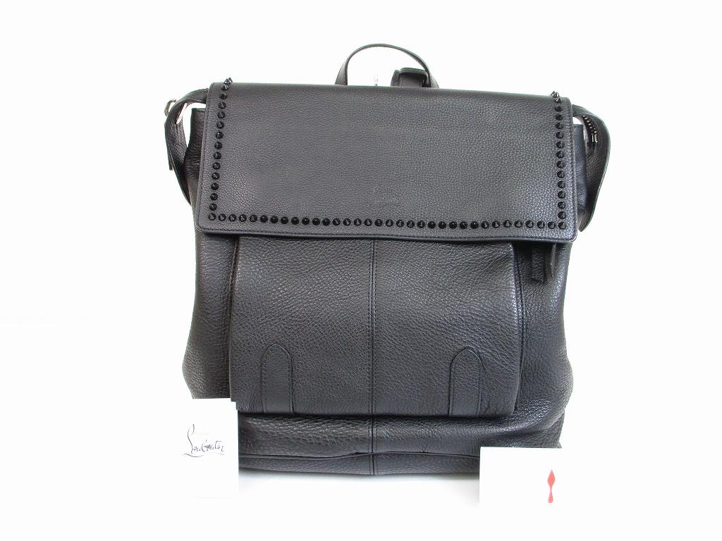 b8ebd6bde17 Christian Louboutin Leather Black Spike Line SYD Backpack Bag Purse #6376