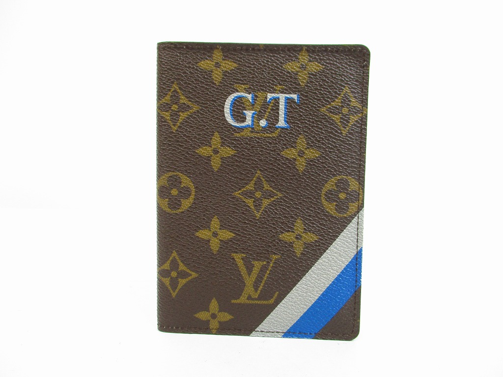 reputable site 36a92 62c31 LOUIS VUITTON Mon Monogram Leather Brown Passport Cover ID Holders #6415