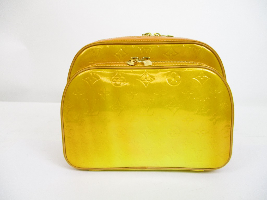 9d70a5537432 Louis Vuitton Vernis Patent Leather Yellow Backpack Bag Purse Murry