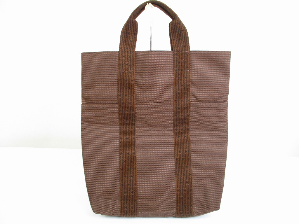 hermes canvas her line brown hand bag tote bag purse cabas 6444 authentic brand shop tokyo 39 s. Black Bedroom Furniture Sets. Home Design Ideas