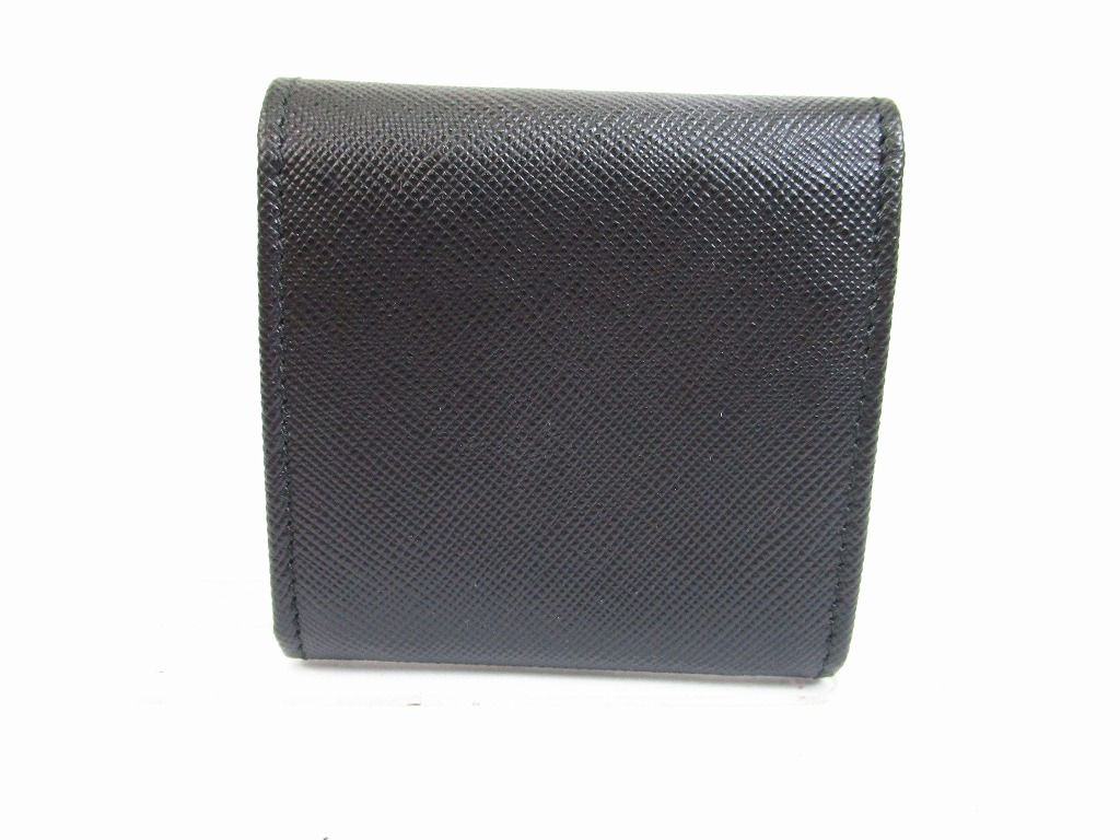 8b24fb2de38764 PRADA Saffiano Leater Black Coin Case Purse #6486 - Authentic Brand ...