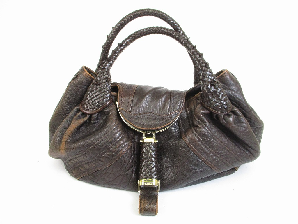 77178de55653 ... promo code for fendi braided handle brown leather zucca spy bag hand bag  purse 6487 6487 ...