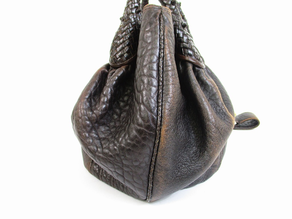 ... promo code for fendi braided handle brown leather zucca spy bag hand bag  purse 6487 6487 ... 3839783df3172