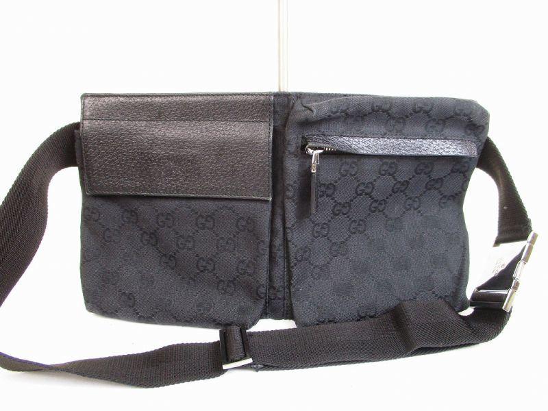 ce2db2dd2b74 GUCCI GG Canvas Black Fanny&Waist Packs Belt Bag Purse #6575 [6575]