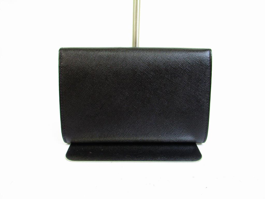 28986e268b11d4 PRADA Saffiano Leather Black Bifold Wallet Purse #6680 - Authentic ...