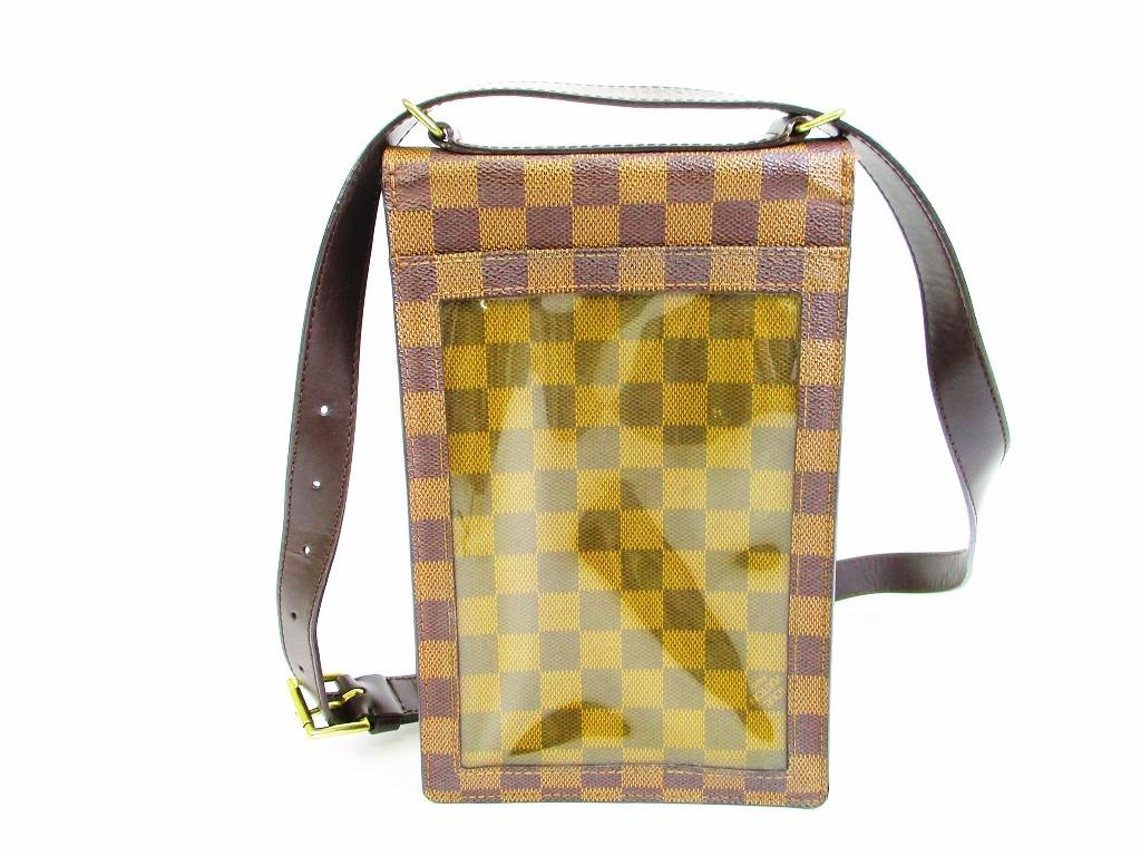 7244d8a1ab85 LOUIS VUITTON Damier Leather Brown Crossbody Bag Purse Portobello  6707   6707