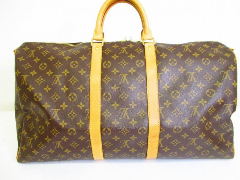 LOUIS VUITTON Monogram Leather Brown Gym Bag Keepall 55 Bandouliere  6717   6717