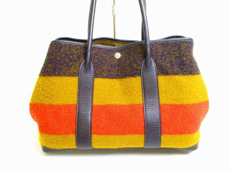 HERMES Garden Party PM Rokabar Wool Leather Orange Tote Bag Hnad Bag  6772   6772  cb86509326825