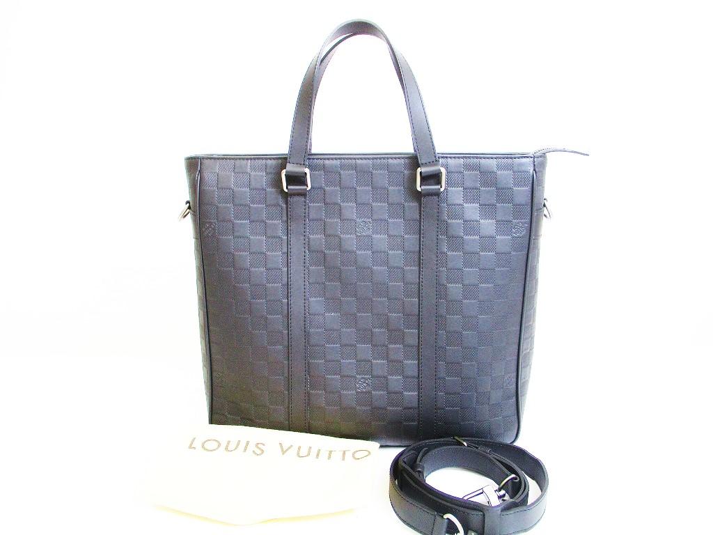 f8735b188474 LOUIS VUITTON Damier Infini Leather Black Tote Bag w Strap Tadao PM  6868   6868