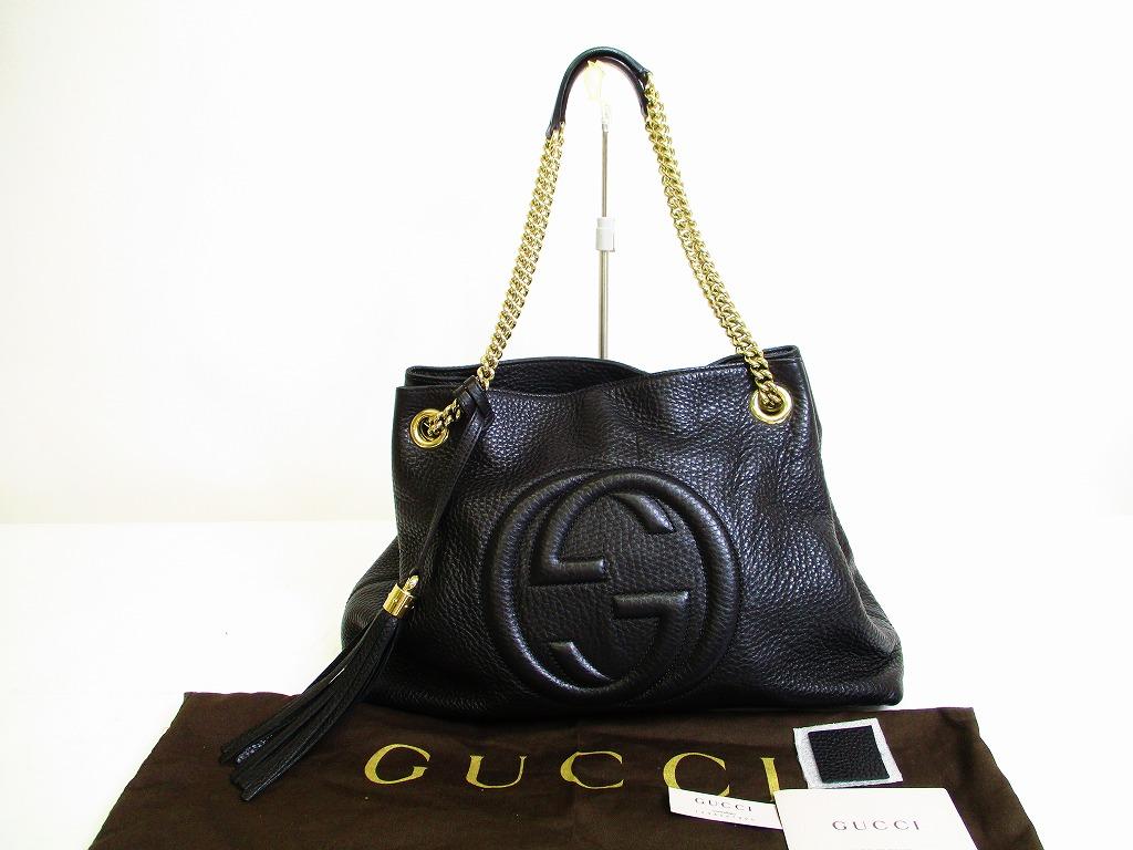 40ad8a48c2b GUCCI Soho Interlocking G Leather Black Chain Tote Bag Purse #6871