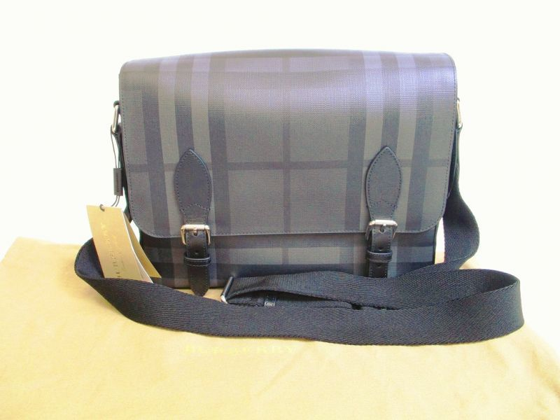4d95b92a8f5a BURBERRY London Check PVC Charcoal Black Messenger Bag  6880  6880