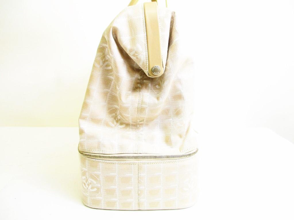 649e49edf7666f CHANEL New Travel Canvas Beige Hand Bag Travel Bag Purse #6923 [6923]